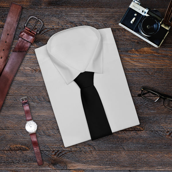 Black Solid Color Printed Soft Satin Finish Necktie Mens Fashion Tie - Made in USA-Necktie-One Size-Heidi Kimura Art LLC Black Fashion Tie, Black Solid Color Printed Soft Satin Finish Necktie Mens Fashion Unique Tie For Work or School - Made in USA