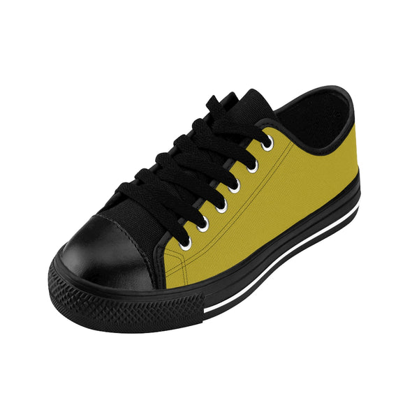 Green Solid Color Designer Low Top Women's Sneakers Running Shoes (US Size 6-12)-Women's Low Top Sneakers-Heidi Kimura Art LLC