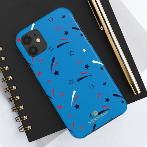 American Patriotic Print Phone Case, Blue Case Mate Tough Phone Cases-Made in USA - Heidikimurart Limited  American Patriotic Print Phone Case, Blue July 4th American Style Modern Designer Case Mate Tough Phone Case For iPhones and Samsung Galaxy Devices-Printed in USA