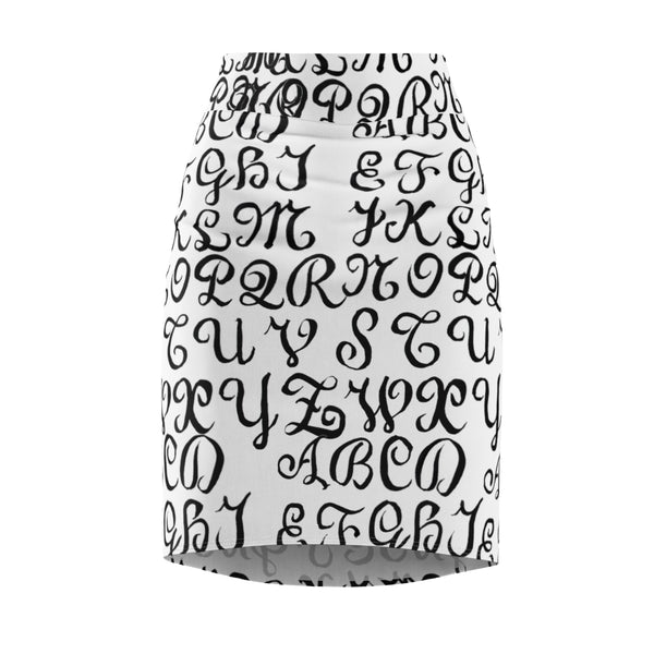 Black White Calligraphy Lettering Print Women's Pencil Skirt-Made in USA(US Size: XS-2XL)-Pencil Skirt-Heidi Kimura Art LLC White Alphabet Pencil Skirts, Black White Calligraphy Lettering Print Women's Pencil Skirt-Made in USA (US Size: XS-2XL)