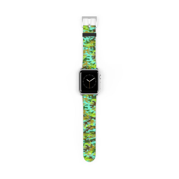 Light Blue Green Camo Print 38mm/ 42mm Watch Band For Apple Watches- Made in USA-Watch Band-38 mm-Silver Matte-Heidi Kimura Art LLC