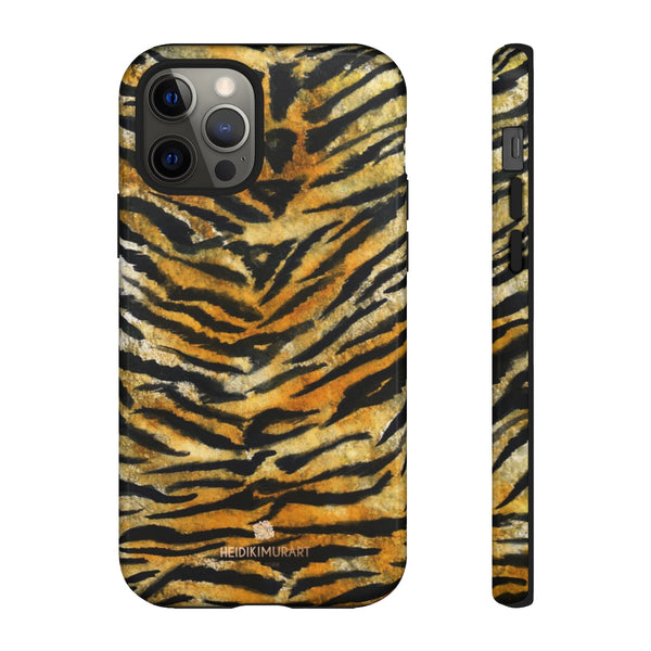 Tiger Stripe Print Phone Case, Animal Print Tough Designer Phone Case -Made in USA-Phone Case-Printify-iPhone 12 Pro-Glossy-Heidi Kimura Art LLC