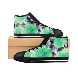 Blue Rose Floral Print Women's High Top Designer Sneakers Tennis Shoes (US Size: 6-12)-Women's High Top Sneakers-US 10-Heidi Kimura Art LLC Blue Rose Floral Women's Sneakers, Blue Rose Floral Print Women's High Top Designer Sneakers Tennis Shoes(US Size: 6-12)