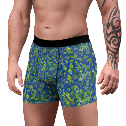 Blue Maidenhair Men's Boxer Briefs, Green Navy Blue Tropical Fern Leaf Print Underwear For Men-All Over Prints-Printify-L-Black Seams-Heidi Kimura Art LLC Blue Maidenhair Men's Boxer Briefs, Green Navy Blue Tropical Fern Leaf Print Premium Quality Sexy Modern Hot Men's Boxer Briefs Hipster Lightweight 2-sided Soft Fleece Lined Fit Underwear - (US Size: XS-3XL)