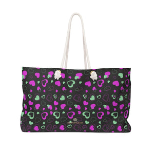 "Black Pink Hearts Valentine's Day Designer Weekender Oversized Bag- Made in USA-Weekender Bag-24x13-Heidi Kimura Art LLC Pink Hearts Weekender Bag, Black Pink Hearts Print Valentine's Day Premium Oversized Designer 24""x13"" Large Weekender Bag, Gift For Her, Valentine's Day or Mother's Day Gift - Made in USA"
