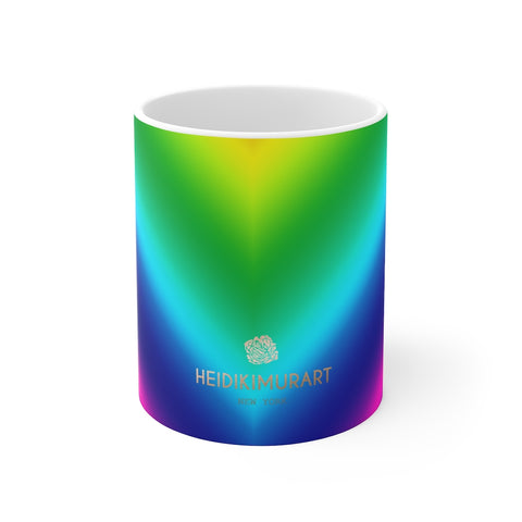 Rainbow Ombre Mug 11oz, Gay Pride Designer Cup, Coffee Tea Ceramic Cup With Rounded Corners with C-Handle - Printed in USA