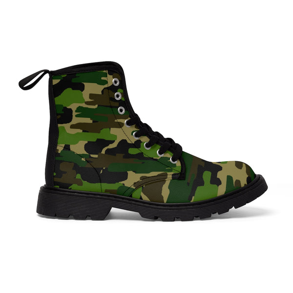 Military Green Camouflage Army Designer Women's Winter Lace-up Toe Cap Boots (US Size: 6.5-11)-Women's Boots-Heidi Kimura Art LLC