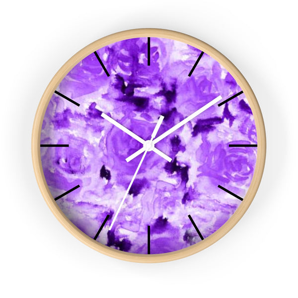 Purple Rose Floral Print 10 inch Diameter Modern Unique Wall Clock - Made in USA-Wall Clock-Wooden-White-Heidi Kimura Art LLC