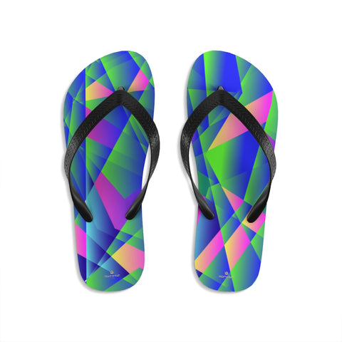 Blue Emerald Diamond Geometric Print Unisex Flip-Flops Sandals- Made in USA-Flip-Flops-Small-Heidi Kimura Art LLC Blue Diamond Print Flip-Flops, Blue Emerald Diamond Geometric Print Unisex Men's And Women's Premium Quality Classic Print Stylish Unisex Designer Flip-Flops - Made in USA (US Size: S/M/L)