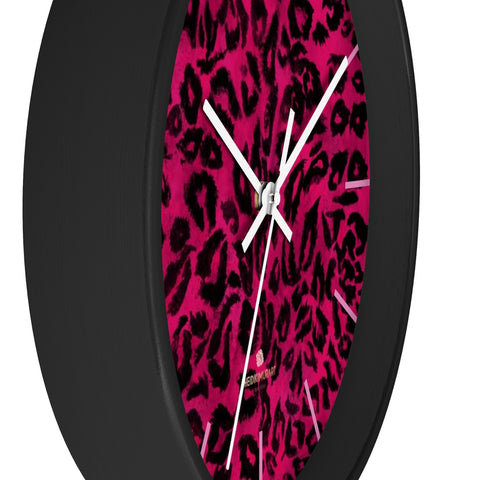 Hot Pink Leopard Animal Print Large Unique Wall Clocks For Vegan Lovers- Made in USA-Wall Clock-10 in-Black-White-Heidi Kimura Art LLC