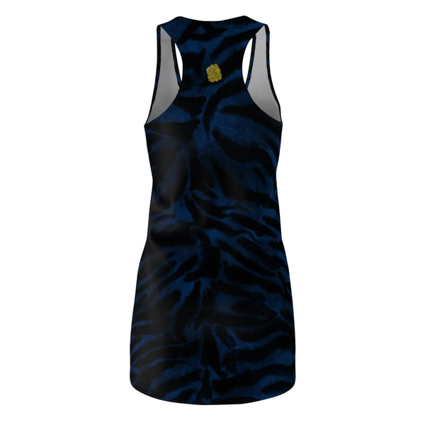 Women's Navy Blue Black Fierce Tiger Stripe Animal Print Sleeveless Dress, Made in USA-Women's Sleeveless Dress-Heidi Kimura Art LLC