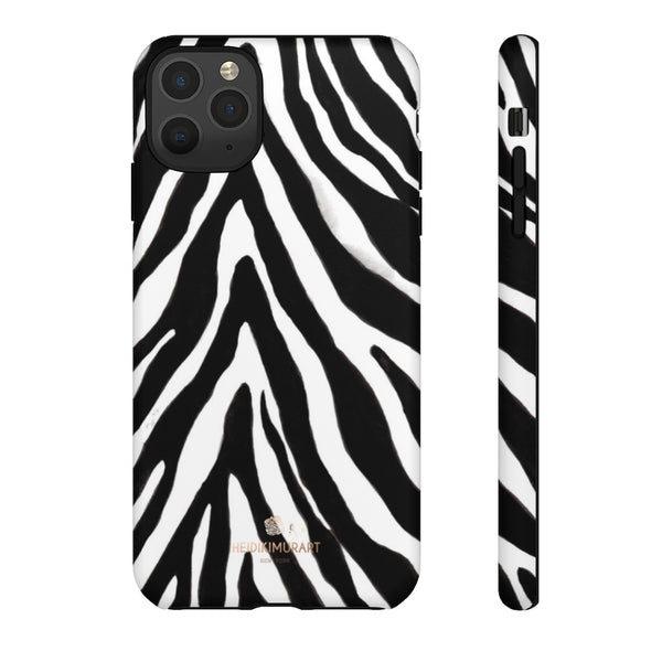 Zebra Stripe Phone Case, Animal Print Tough Designer Phone Case -Made in USA-Phone Case-Printify-iPhone 11 Pro Max-Matte-Heidi Kimura Art LLC