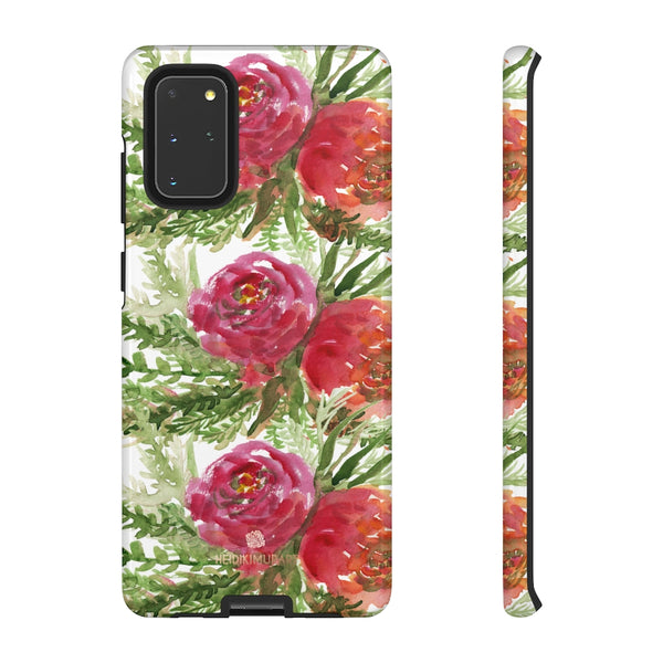 Red Orange Floral Phone Case, Flower Print Tough Designer Phone Case -Made in USA-Phone Case-Printify-Samsung Galaxy S20+-Glossy-Heidi Kimura Art LLC
