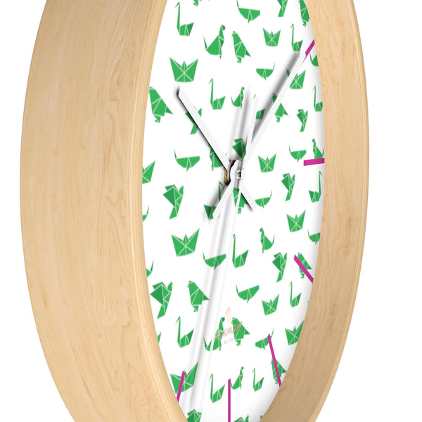 "White Green Japanese Crane Print Large Unique 10"" Diameter Wall Clocks- Made in USA-Wall Clock-Heidi Kimura Art LLC"