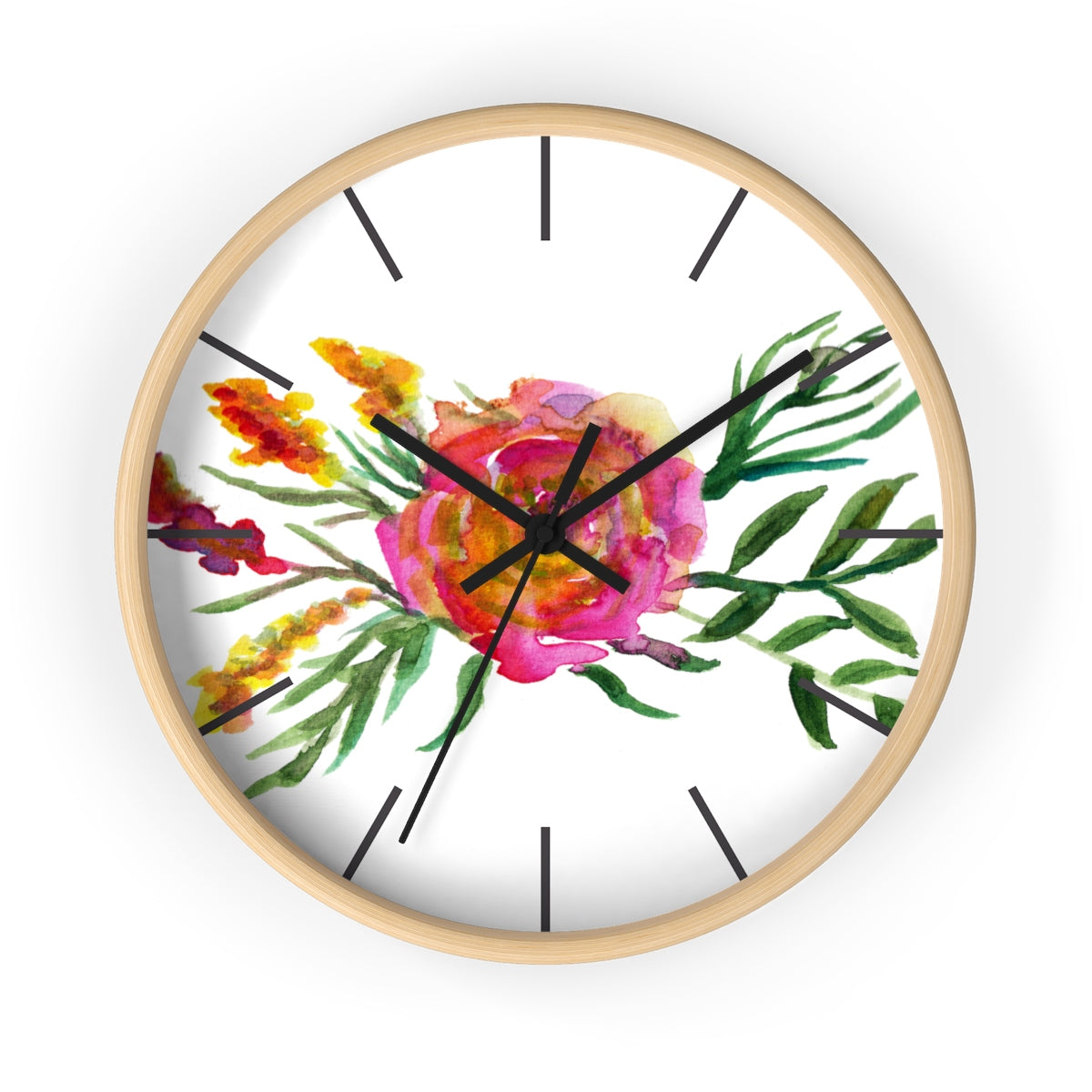 Pink Rose Watercolor Floral Print 10 inch Diameter Flower Wall Clock - Made in USA-Wall Clock-Wooden-Black-Heidi Kimura Art LLC