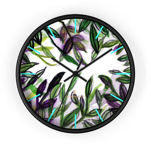 Green Purple Tropical Leaf Print 10 in. Dia. Indoor Wall Clock-Made in USA,Modern Tropical Leaf Clock,Pam Leaf Wall Clock,Modern  Wall Clock