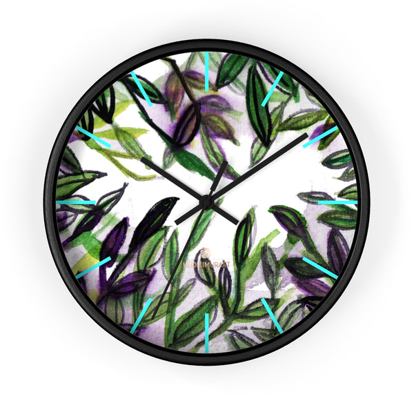 Green Purple Tropical Leaf Print Designer 10 in. Dia. Indoor Wall Clock- Made in USA-Wall Clock-10 in-Black-Black-Heidi Kimura Art LLC
