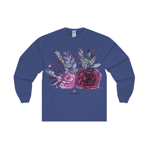Rose Floral Print Premium Women's Designer Long Sleeve Tee - Made in USA-Long-sleeve-Royal-L-Heidi Kimura Art LLC