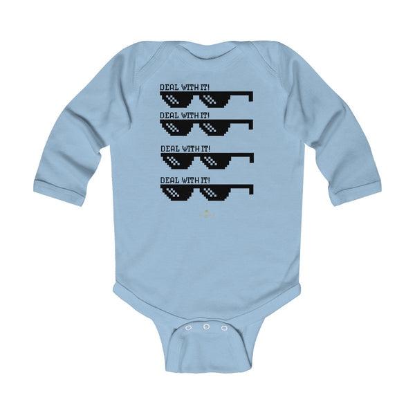 "Funny ""Deal With It"" Cute Baby Boy/Girls Infant Kids Long Sleeve Bodysuit -Made in USA-Infant Long Sleeve Bodysuit-Light Blue-NB-Heidi Kimura Art LLC"
