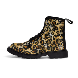 Snow Leopard Animal Print Designer Men's Lace-Up Boots Cap Toe Men's Shoes-Men's Winter Boots-Black-US 9-Heidi Kimura Art LLC