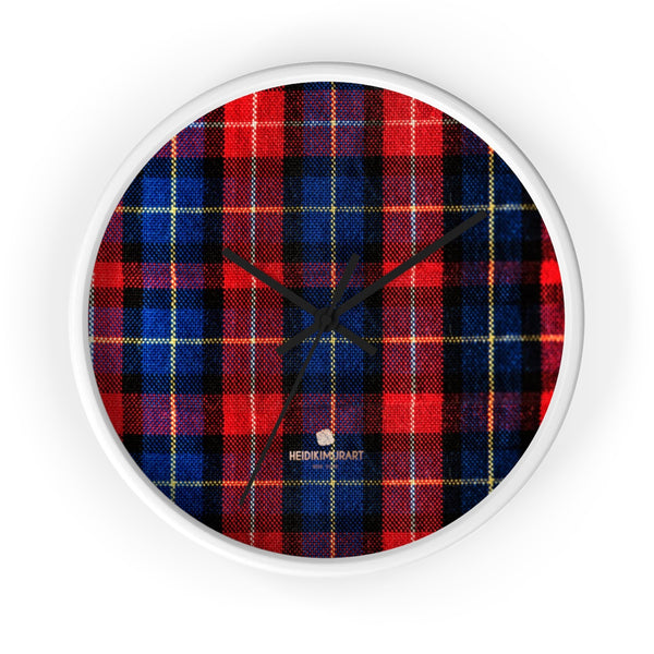 Classic Red Plaid Pattern London Calling Modern 10 in. Diameter Wall Clock-Made in USA-Wall Clock-10 in-White-Black-Heidi Kimura Art LLC