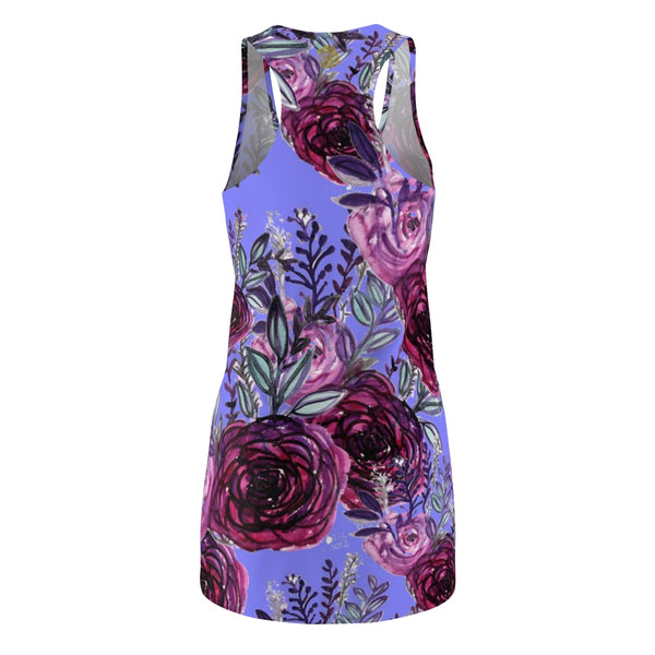 Pastel Purple Rose Floral Print Women's Racerback Dress-Made in USA (US Size: XS-2XL)-Women's Sleeveless Dress-Heidi Kimura Art LLC