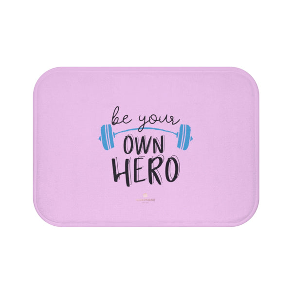 "Light Pink ""Be Your Own Hero"" Inspirational Quote Microfiber Bath Mat- Printed in USA-Bath Mat-Small 24x17-Heidi Kimura Art LLC"