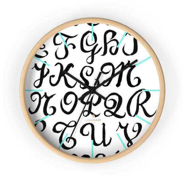 "Alphabet Print 10"" dia. Wall Clock, Large Calligraphy Wall Clock For Library -Made in USA-Wall Clock-10 in-Wooden-Black-Heidi Kimura Art LLC"