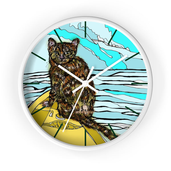 Boat Cat Print Wall Clock, Brown Orange Cat Print 10 in. Dia. Indoor Clock- Made in USA-Wall Clock-10 in-White-White-Heidi Kimura Art LLC