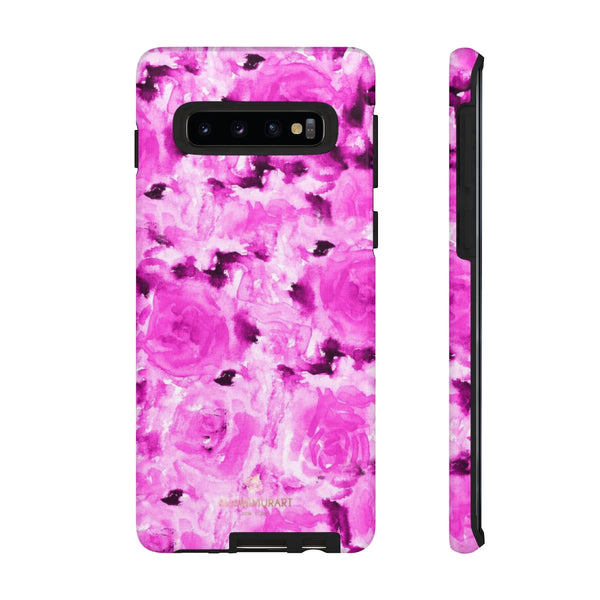 Hot Pink Floral Print Phone Case, Abstract Print Tough Cases, Designer Phone Case-Made in USA-Phone Case-Printify-Samsung Galaxy S10-Glossy-Heidi Kimura Art LLC