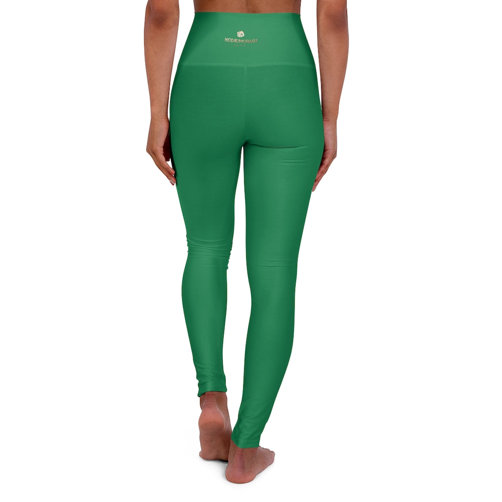 Dark Green Running Pants, High Waisted Yoga Leggings, Solid Color Long Women Yoga Tights-All Over Prints-Printify-XL-Heidi Kimura Art LLC