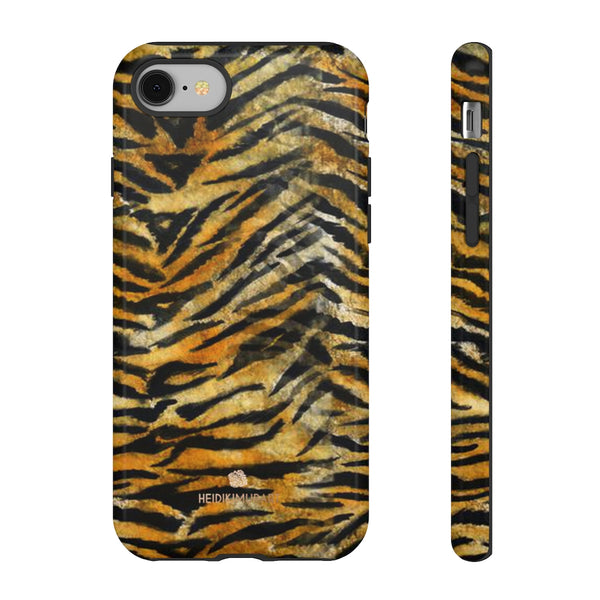 Orange Tiger Striped Phone Case, Animal Print Tough Cases, Designer Phone Case-Made in USA-Phone Case-Printify-iPhone 8-Glossy-Heidi Kimura Art LLC