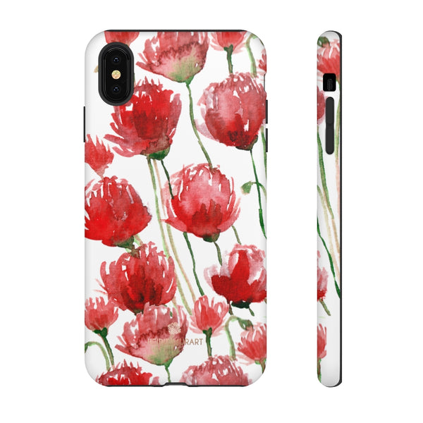 Red Tulips Floral Tough Cases, Roses Flower Print Best Designer Phone Case-Made in USA-Phone Case-Printify-iPhone XS MAX-Matte-Heidi Kimura Art LLC