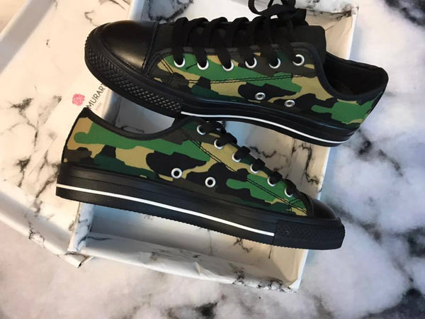 Camouflage Green Military Army Print Designer Men's Running Low Top Sneakers Shoes, Men's Designer Camo Print Tennis Shoes (US Size 7-14)