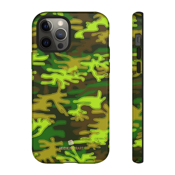 Green Camouflage Phone Case, Army Military Print Tough Designer Phone Case -Made in USA-Phone Case-Printify-iPhone 12 Pro-Glossy-Heidi Kimura Art LLC