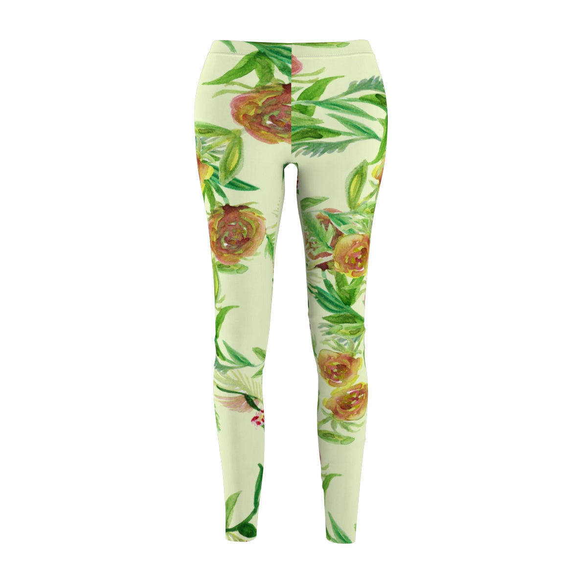 Light Yellow Rose Floral Print Women's Tights / Casual Leggings - Made in USA (US Size: XS-2XL)-Casual Leggings-M-Heidi Kimura Art LLC