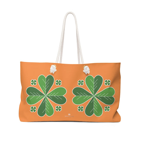 "Orange Green Clover Leaf St. Patrick's Day Irish Print 24""x13""Weekender Bag- Made in USA-Weekender Bag-24x13-Heidi Kimura Art LLC"