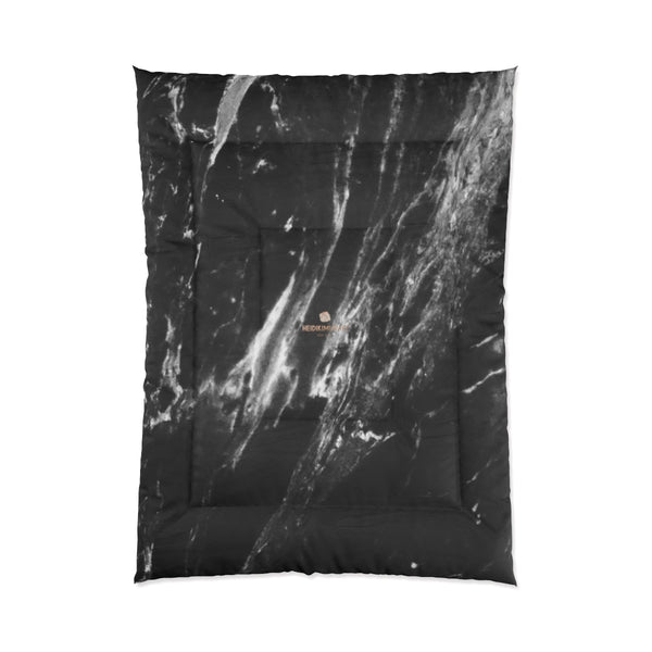 Cool Black White Marble Print Designer Comforter For King/Queen/Full/Twin-Made in USA-Comforter-68x92 (Full Size)-Heidi Kimura Art LLC