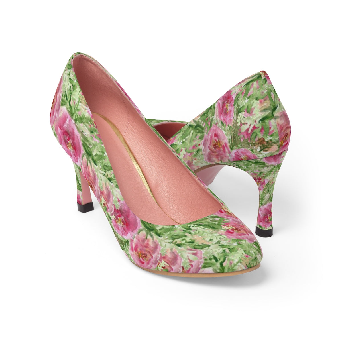 "Garden Rose Bush Flower Japanese Floral Print Women's 3"" High Heels (US Size: 5-11)-3 inch Heels-US 7-Heidi Kimura Art LLC Garden Rose Floral Heels, Designer Best Feminine Elegant Rose Bush Flower Japanese Floral Print Women's 3"" High Heels (US Size: 5-11)"