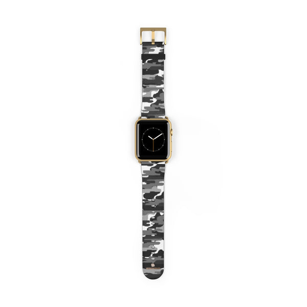 Gray & White Classic Camo Print 38mm/42mm Watch Band For Apple Watch- Made in USA-Watch Band-42 mm-Gold Matte-Heidi Kimura Art LLC