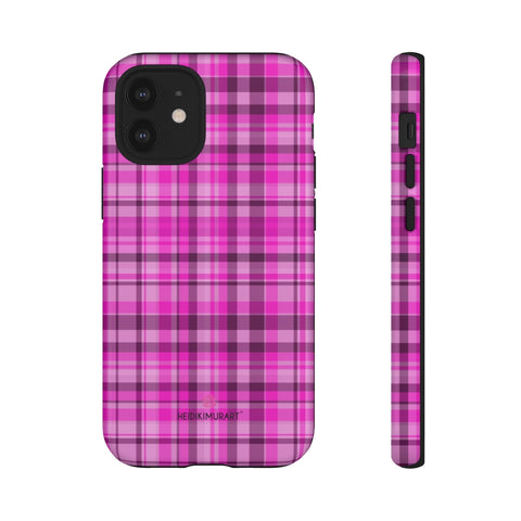 Pink Plaid Tartan Print Phone Case, Modern Tartan Plaid Print Designer Case Mate Best Tough Phone Case For iPhones and Samsung Galaxy Devices-Made in USA