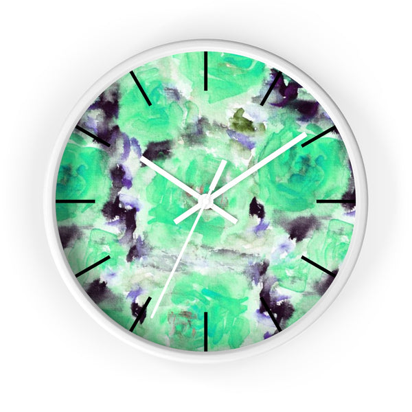 "Turquoise Blue Floral Print Abstract Rose 10"" Diameter Wall Clock - Made in USA-Wall Clock-White-White-Heidi Kimura Art LLC"