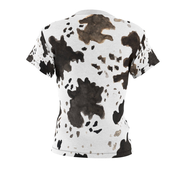 Cow Print Regular Fit Crew Neck Women's Cut & Sew Crew Neck Tee -Made in USA-T-Shirt-Heidi Kimura Art LLC