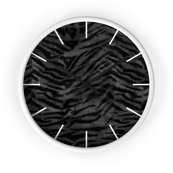Black Tiger Stripe Wall Clock, Animal Print 10 inch Diameter Indoor Clock-Made in USA-Wall Clock-White-Black-Heidi Kimura Art LLC