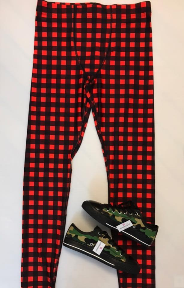 Buffalo Red Plaid Print Men's Leggings Tights Yoga Pants - Made in USA (US Size: XS-3XL) - Heidi Kimura Art LLC