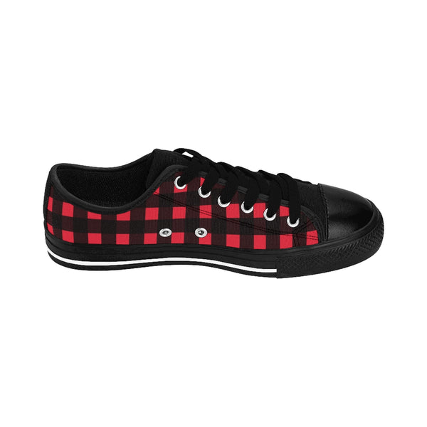 Buffalo Red Plaid Print Designer Men's Low Top Sneakers Running Shoes (US Size: 6-14)-Men's Low Top Sneakers-Heidi Kimura Art LLC