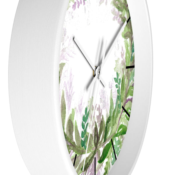 French Lavender Purple Floral Rose Print 10 inch Diameter Wall Clock - Made in USA-Wall Clock-Heidi Kimura Art LLC