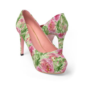 "Rose Princess Floral Designer Women's 4"" Platform Heels Pumps Shoes (US Size 5-11)-4 inch Heels-US 7-Heidi Kimura Art LLC Rose Floral 4"" Heels, Best Floral Heels, British Rose Princess Floral Print Designer Women's 4"" Platform Heels Pumps Shoes (US Size 5-11)"