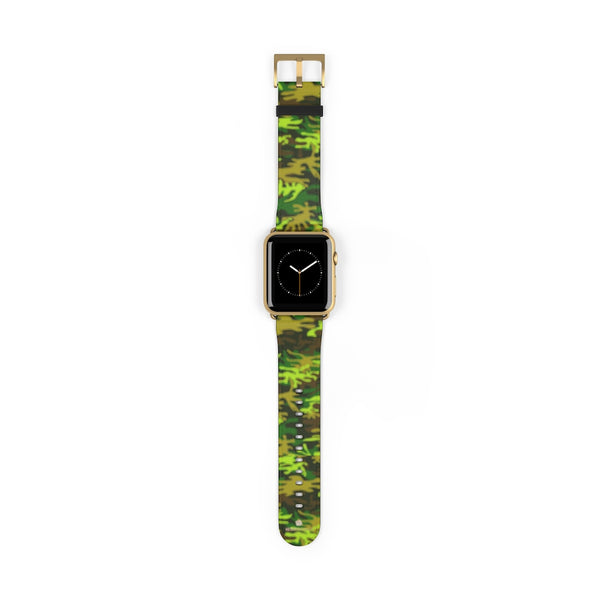 Green Brown Camo Military Print 38mm/42mm Watch Band For Apple Watch- Made in USA-Watch Band-42 mm-Gold Matte-Heidi Kimura Art LLC