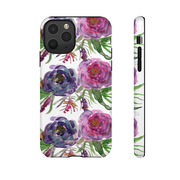 Pink Floral Print Phone Case, Roses Tough Designer Phone Case -Made in USA-Phone Case-Printify-iPhone 11 Pro-Glossy-Heidi Kimura Art LLC